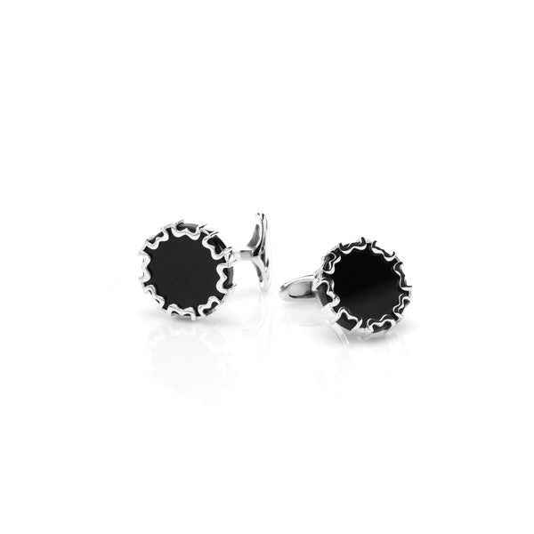 Cordoba Men's Cufflinks in Silver with Black Agate - Al Zain Jewellery