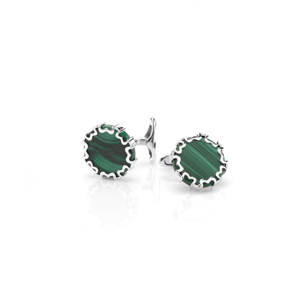 Cordoba Men's Cufflinks in Silver with Malachite - Al Zain Jewellery