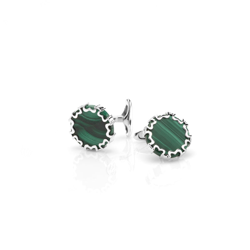 Cordoba Mens Cufflinks in Silver with Malachite - Al Zain Jewellery