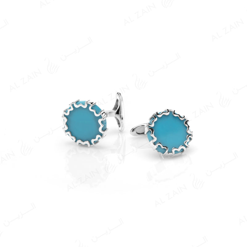 Cordoba Mens Cufflinks in Silver with Turquoise - Al Zain Jewellery