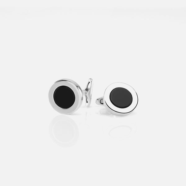 Mens Cufflinks in Silver with Black Agate
