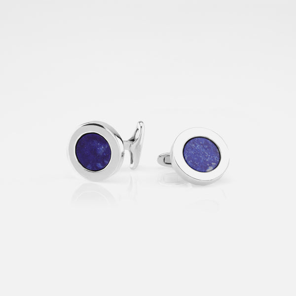 Mens Cufflinks in Silver with Lapis Stones