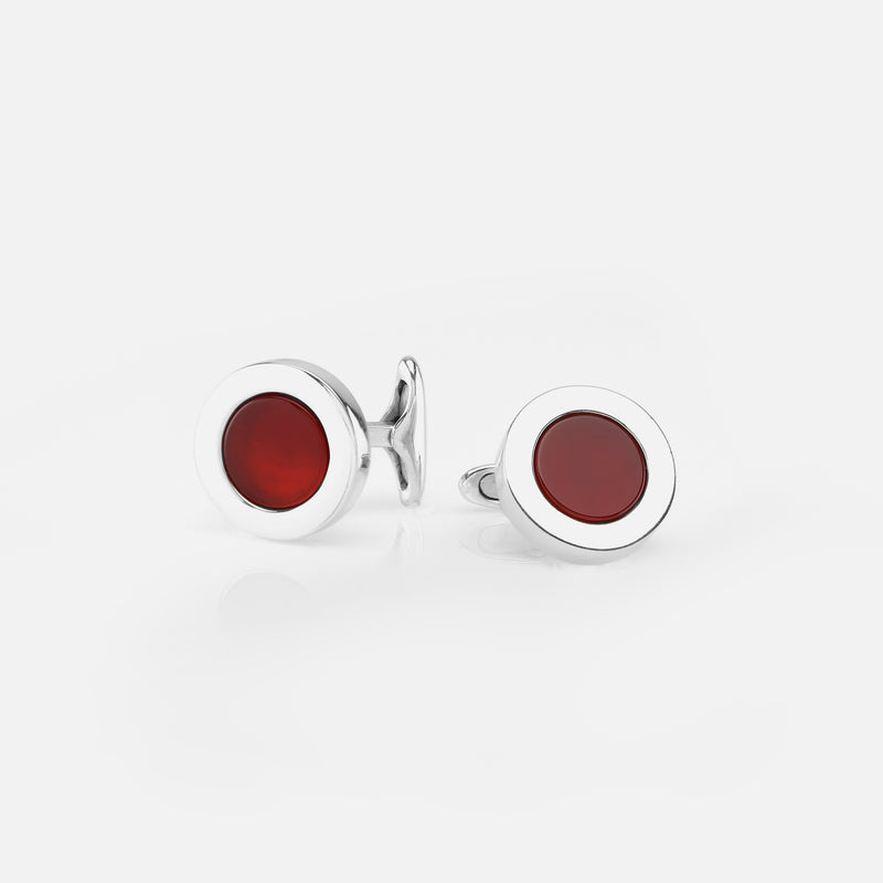 Mens Cufflinks in Silver with Red Agate - Al Zain Jewellery