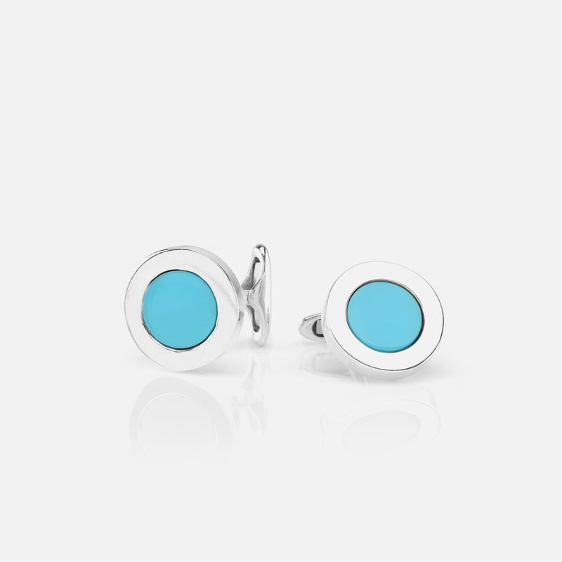 Mens Cufflinks in Silver with Turquoise Stones - Al Zain Jewellery