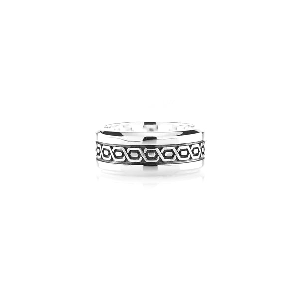 Cordobe Men's silver ring with enamel - Al Zain Jewellery