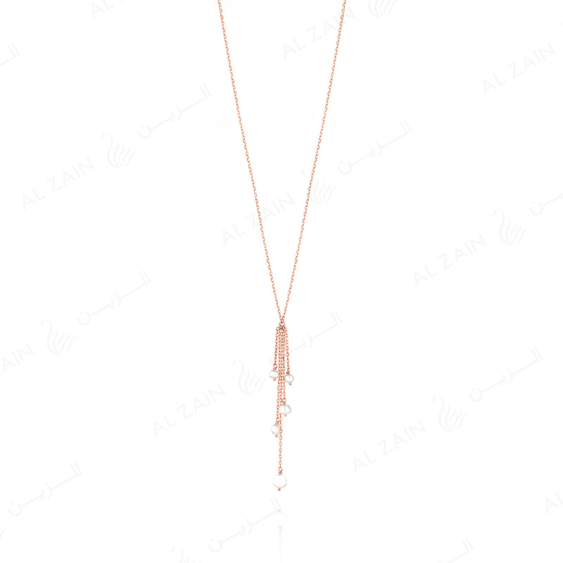 Natural Pearl Necklace in Rose gold