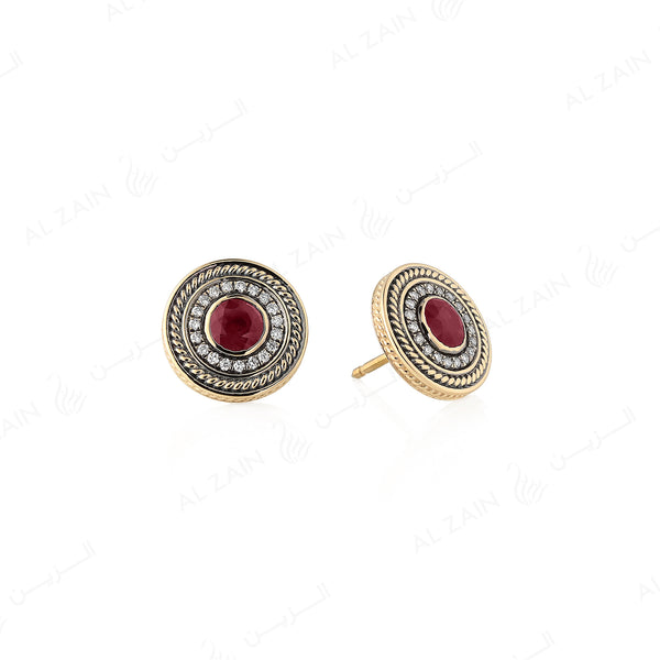 18k Antique Precious Medallion earrings in yellow gold with ruby and diamonds - Al Zain Jewellery
