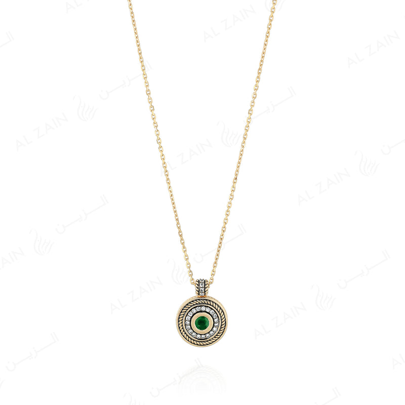 18k Antique Precious Medallion necklace in yellow gold with emerald and diamonds