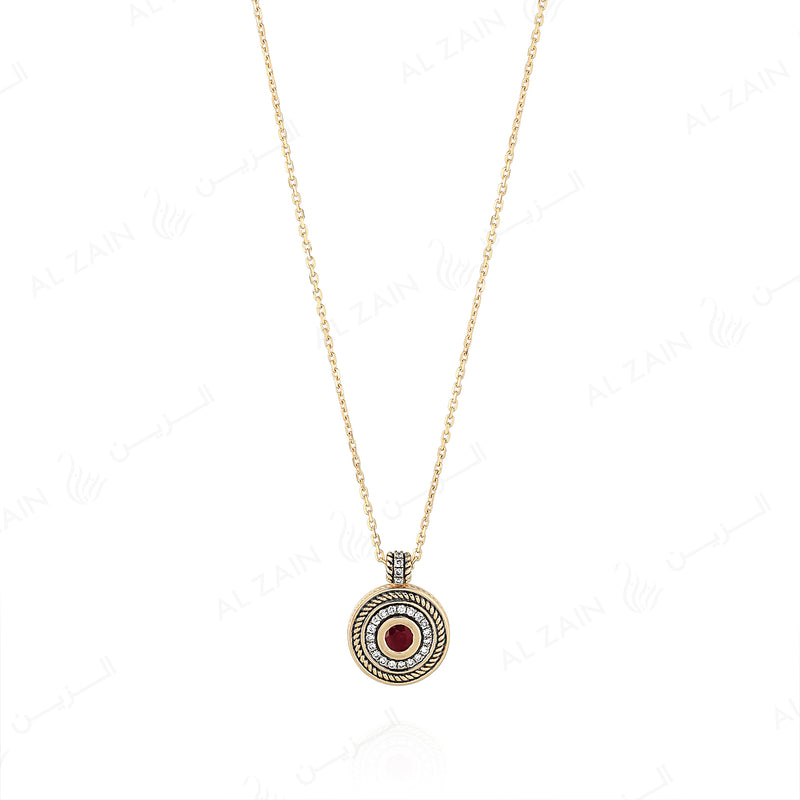 18k Antique Precious Medallion necklace in yellow gold with ruby and diamonds - Al Zain Jewellery