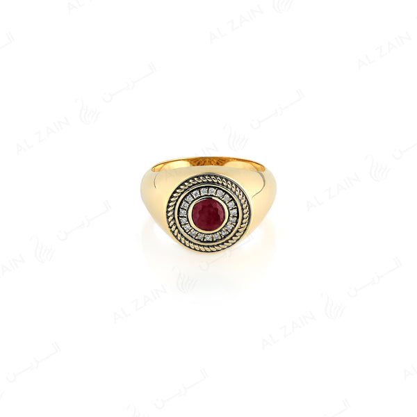 18k Antique Precious Medallion ring in yellow gold with ruby and diamonds - Al Zain Jewellery