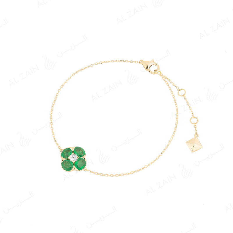Precious Petals Bracelet in 18k Yellow Gold with Diamond and Emerald - Al Zain Jewellery