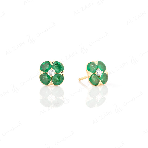 Precious Petals Earrings in 18k Yellow Gold with Diamond and Emerald - Al Zain Jewellery