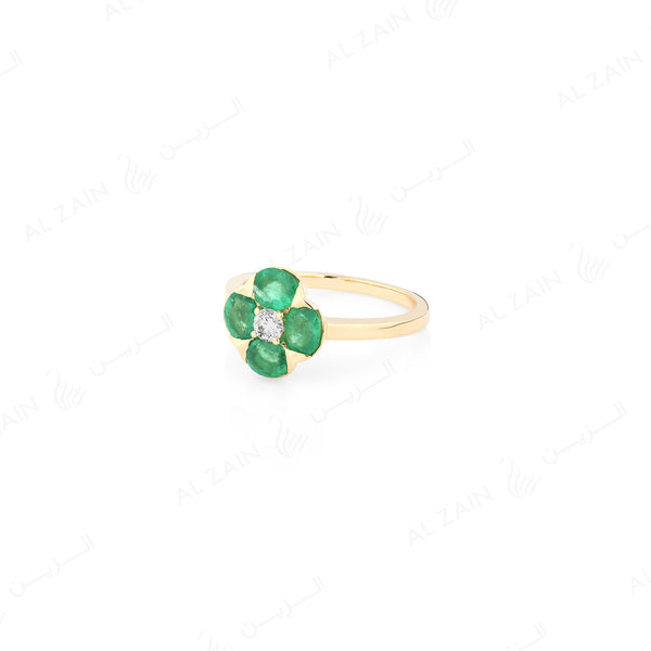 Precious Petals Ring in 18k Yellow Gold with diamond and emerald - Al Zain Jewellery