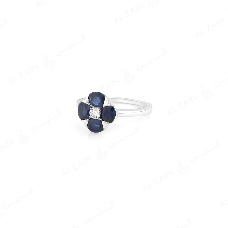 Precious Petals ring in 18k White Gold with Diamond and Sapphire - Al Zain Jewellery
