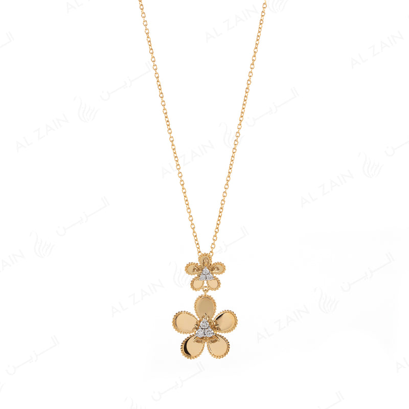Blomme Necklace  in Yellow Gold with Diamonds - Al Zain Jewellery