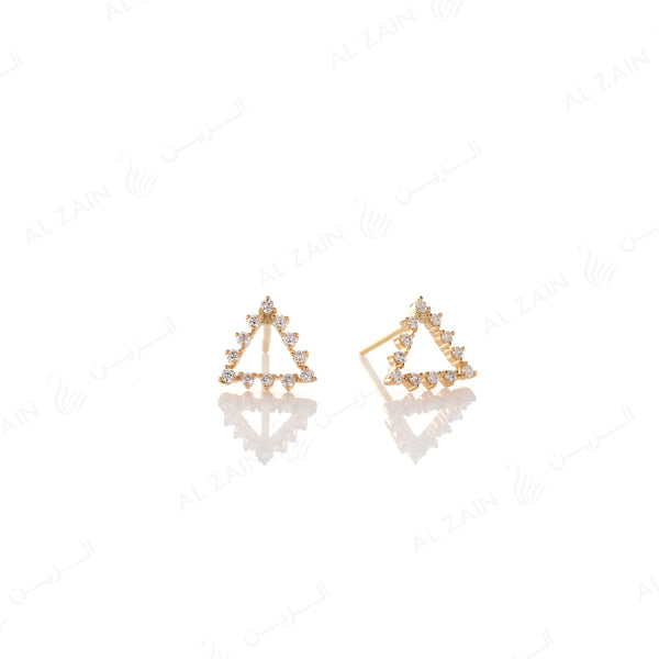 Melati triangle Earrings in Yellow Gold with Diamonds