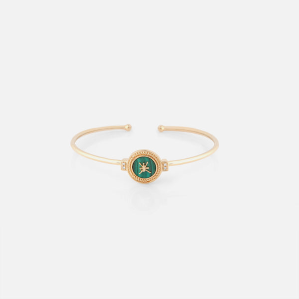 Oman Bangle in 18k yellow gold with Malachite Stone and Diamonds - Al Zain Jewellery
