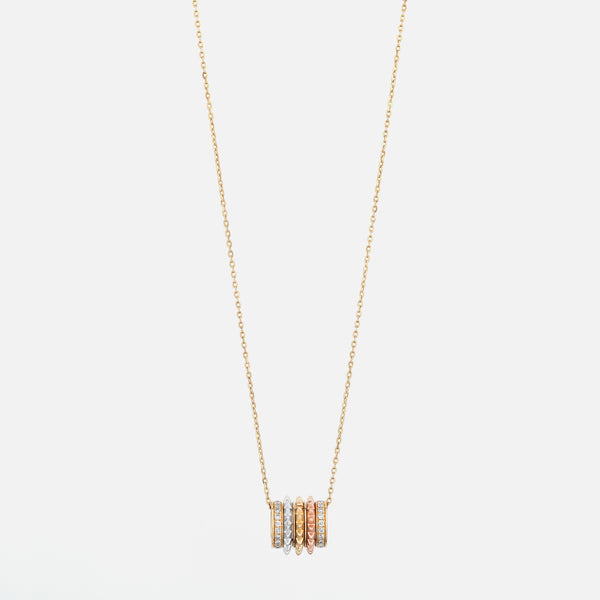 18k Hab El Hayl Evolution Necklace in Tri-Color with Diamonds - Al Zain Jewellery