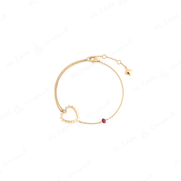 18k gold bracelet with diamond and ruby stone - Al Zain Jewellery