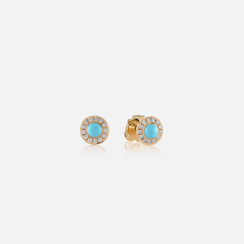 Kids Stud Earrings in Yellow Gold with Diamonds - Al Zain Jewellery