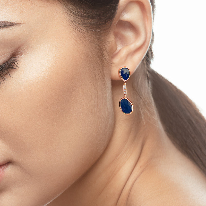 Precious Nina earrings in 18k rose gold with Sapphire stones and diamonds