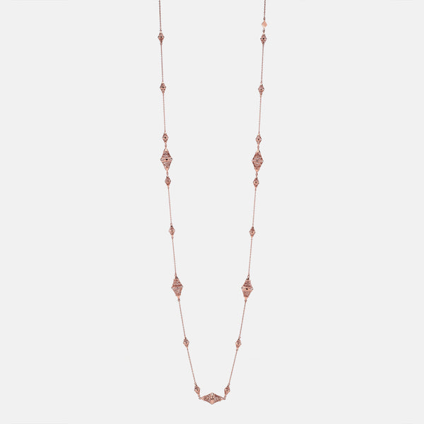 Al Merriyah rosegold edition. 18k Polished finish necklace with diamonds - Al Zain Jewellery