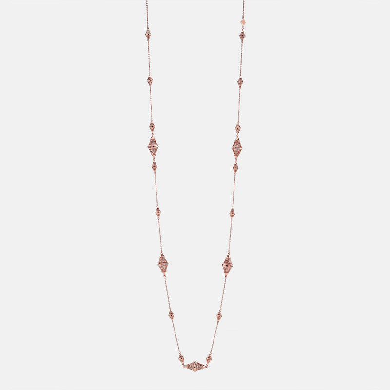 Al Merriyah rosegold edition. Polished finish necklace with diamonds - Al Zain Jewellery