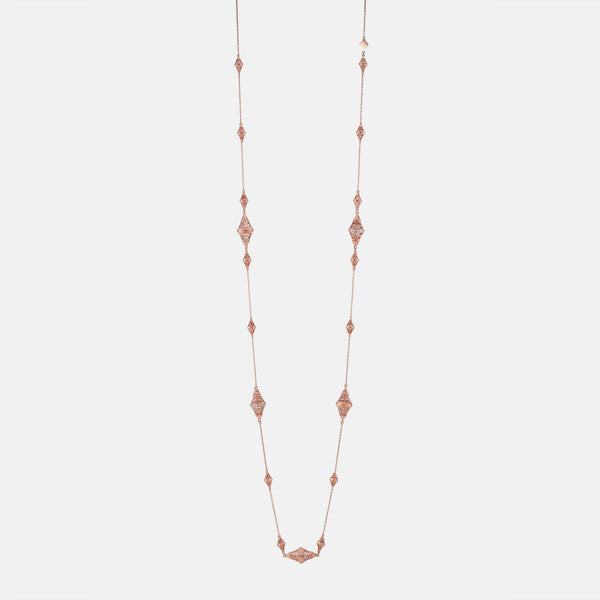 Al Merriyah in 18k rosegold edition. Matte finish necklace with diamonds - Al Zain Jewellery