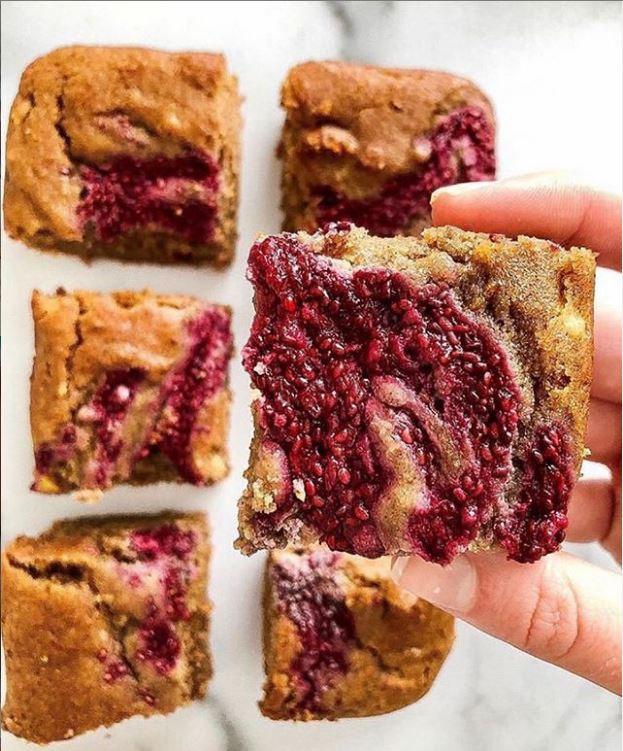 Raspberry Lemon Tahini Blondies