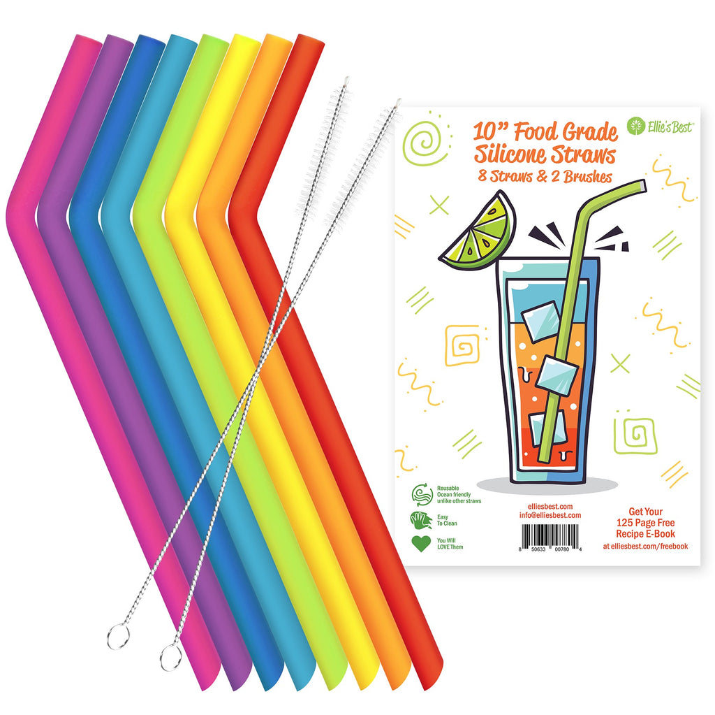 8 Pack Food Grade Silicone Straws
