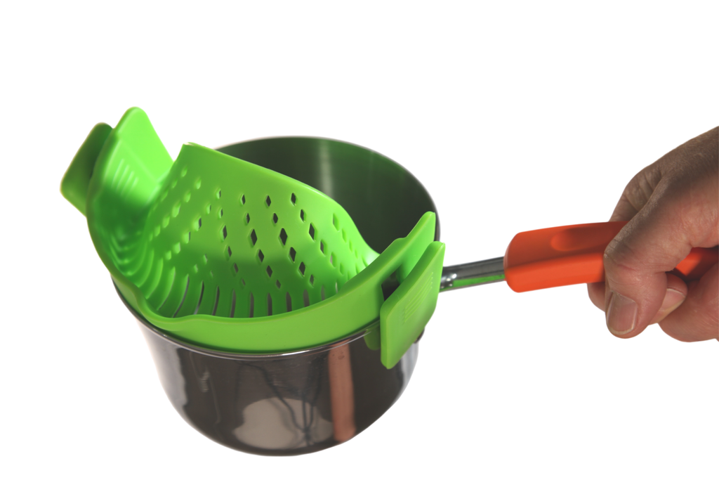 Silicone Pot Strainer/Collander - Hands Free Clip-n-Strain!