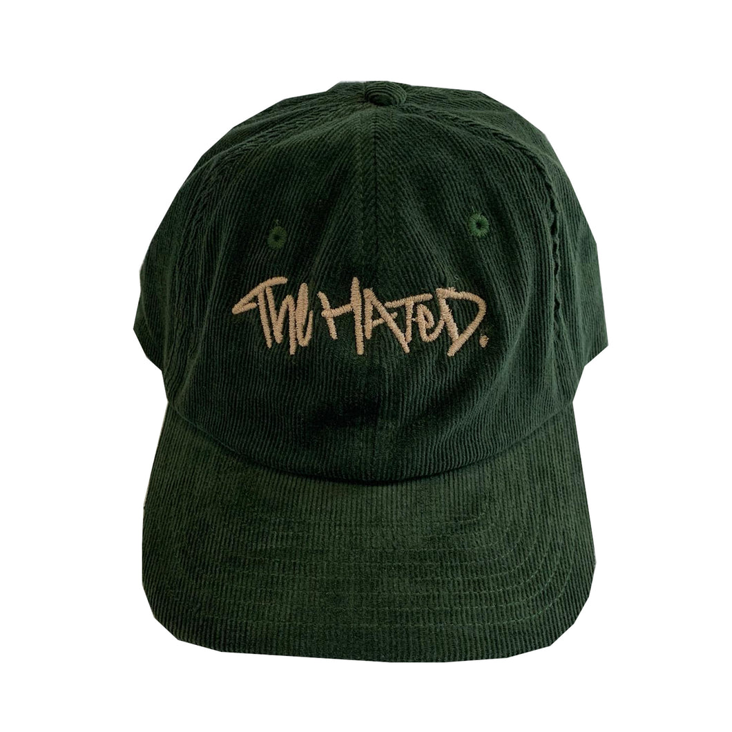 The Hated box logo cord cap - dark olive/gum first edition