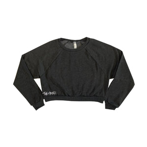 The Hated box logo embroidered crop pullover - dark heather grey/white