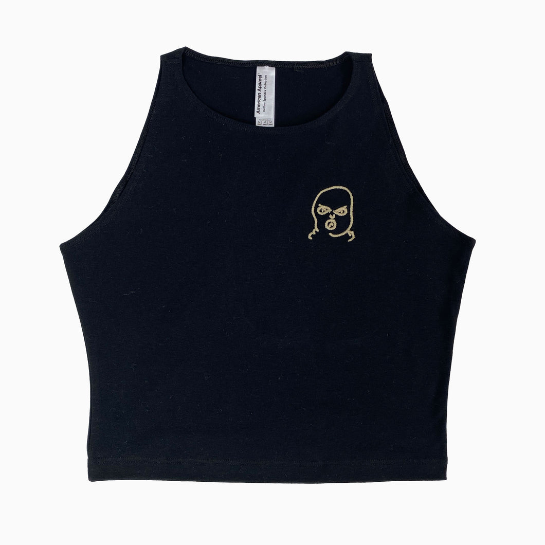 The Hated bally logo sleeveless crop top - black/off gum - The Hated Skateboards