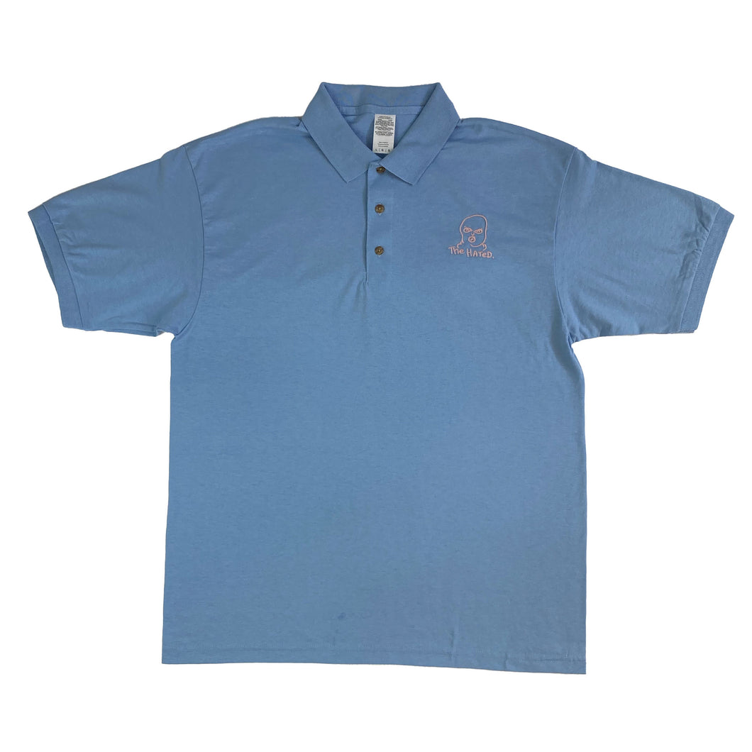 The Hated bally logo embroidered polo shirt - light blue/pink