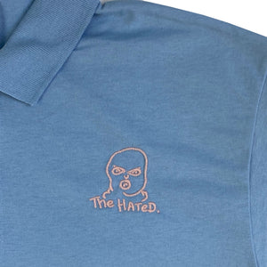 The Hated bally logo embroidered polo shirt - light blue/pink - The Hated Skateboards