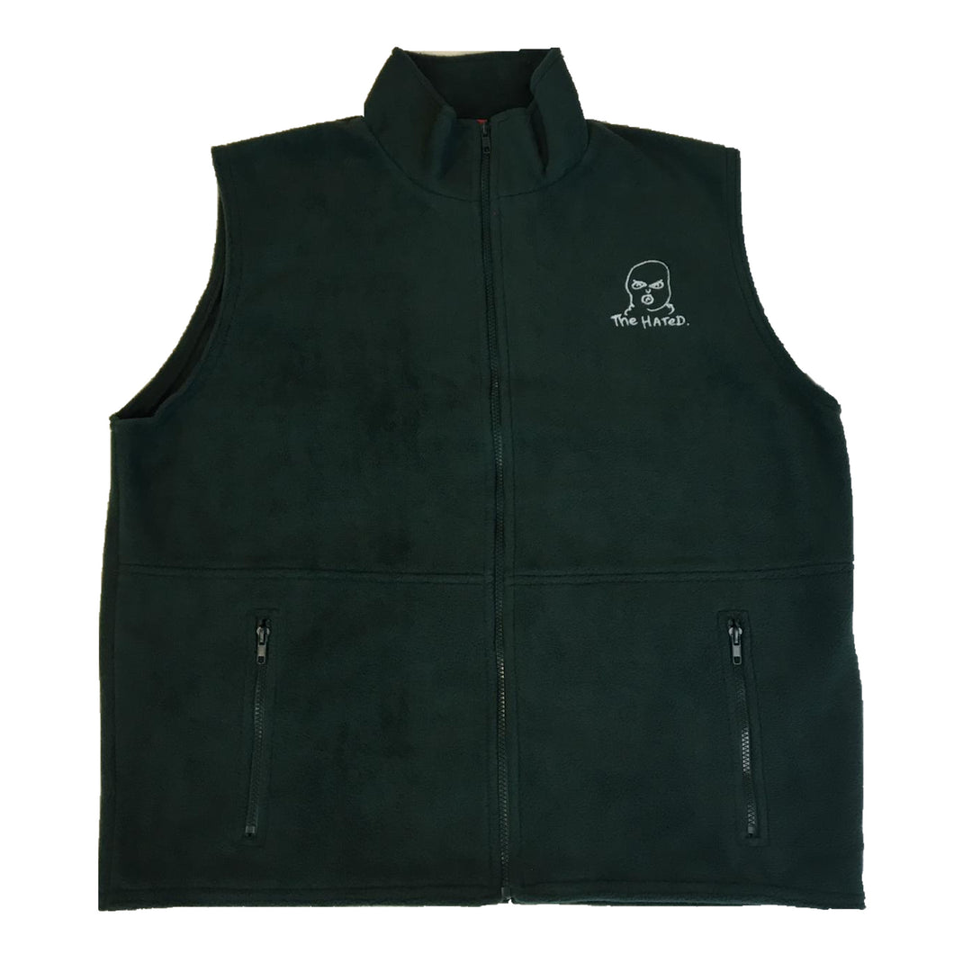 The Hated body warmer fleece - forest green/white - The Hated Skateboards