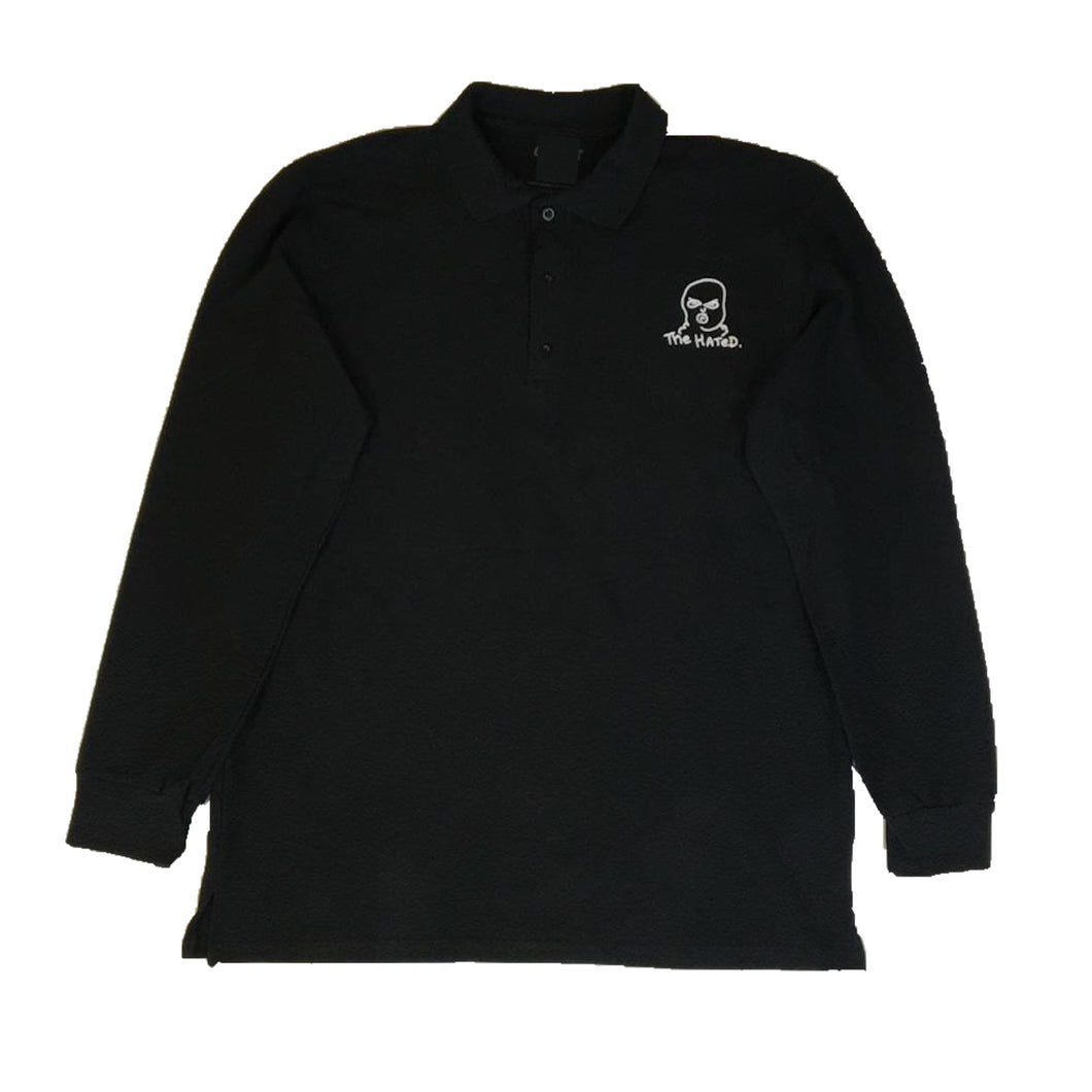 The Hated bally logo long sleeve polo shirt - black/white - The Hated Skateboards