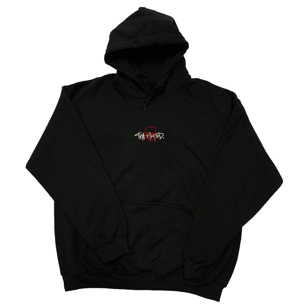 The Hated double embroidered 2 tone Hoody - black/white/red - The Hated Skateboards