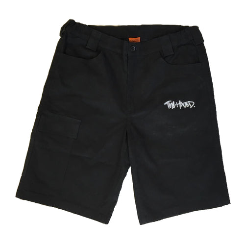 The Hated box logo super stretch slim chino shorts - black/white - The Hated Skateboards