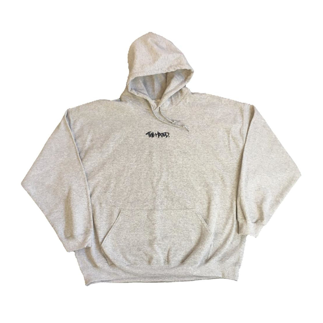 2XL The Hated box logo embroidered hoody - grey/navy