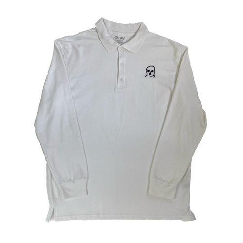 The Hated bally logo long sleeve polo shirt - white/navy - The Hated Skateboards