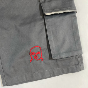 The Hated embroidered bally logo grafters shorts - grey/red - The Hated Skateboards