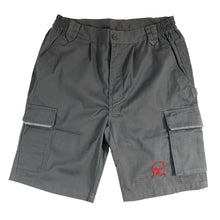 Load image into Gallery viewer, The Hated embroidered bally logo grafters shorts - grey/red - The Hated Skateboards