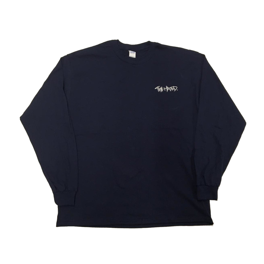The Hated box logo font embroidered long sleeve T-shirt - Navy/White - The Hated Skateboards
