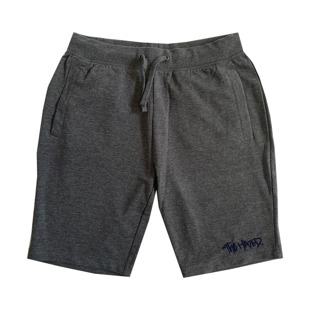 The Hated box logo slim fit summer shorts - grey/navy