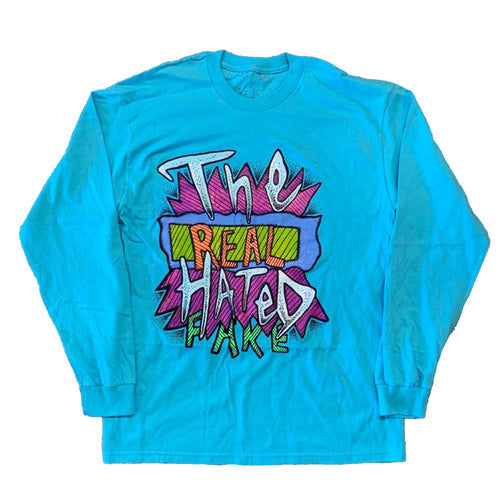 Real Fake x The Hated - Aqua blue hand drawn long sleeve T-Shirt