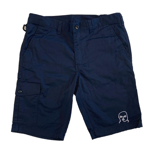 The Hated bally logo embroidered cargo shorts - navy/white - The Hated Skateboards