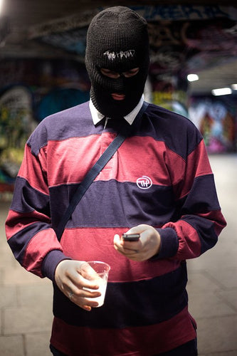 The Hated TH Sewn stripe rugby shirt - Burgundy/Navy - The Hated Skateboards