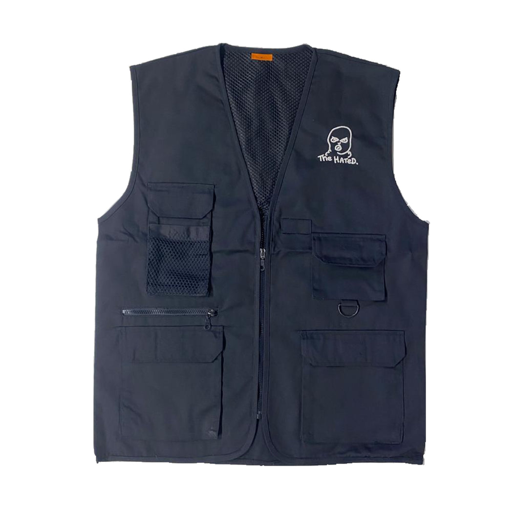 The Hated bally logo grafters vest - midnight blue/white - The Hated Skateboards